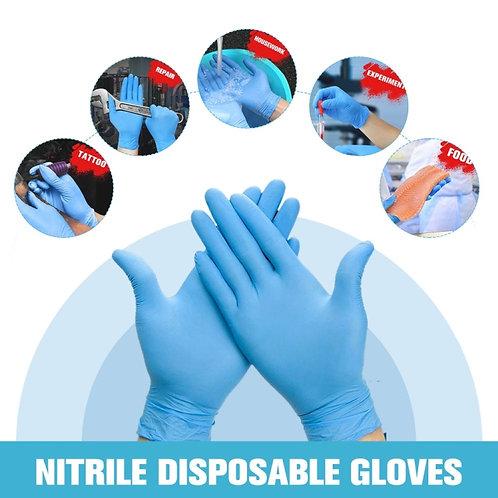 100 PCS Blue Disposable Butyronitrile Gloves Housework Supplies, Size: L,M,S
