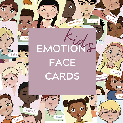 Kids Emotion Face Cards - Printable Feeling Flashcards Teletherapy Play Therapy