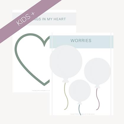 Worry Balloons & Feelings Heart Worksheets