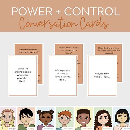 Power and Control Conversation Cards - Questions for Teletherapy Play Therapy