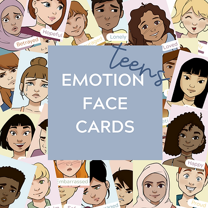 Teen Emotion Face Cards - Printable Feeling Flashcards Teletherapy Play Therapy