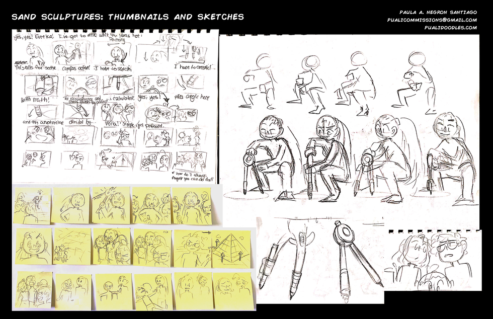 Sand Sculptures Thumbnails and Sketches
