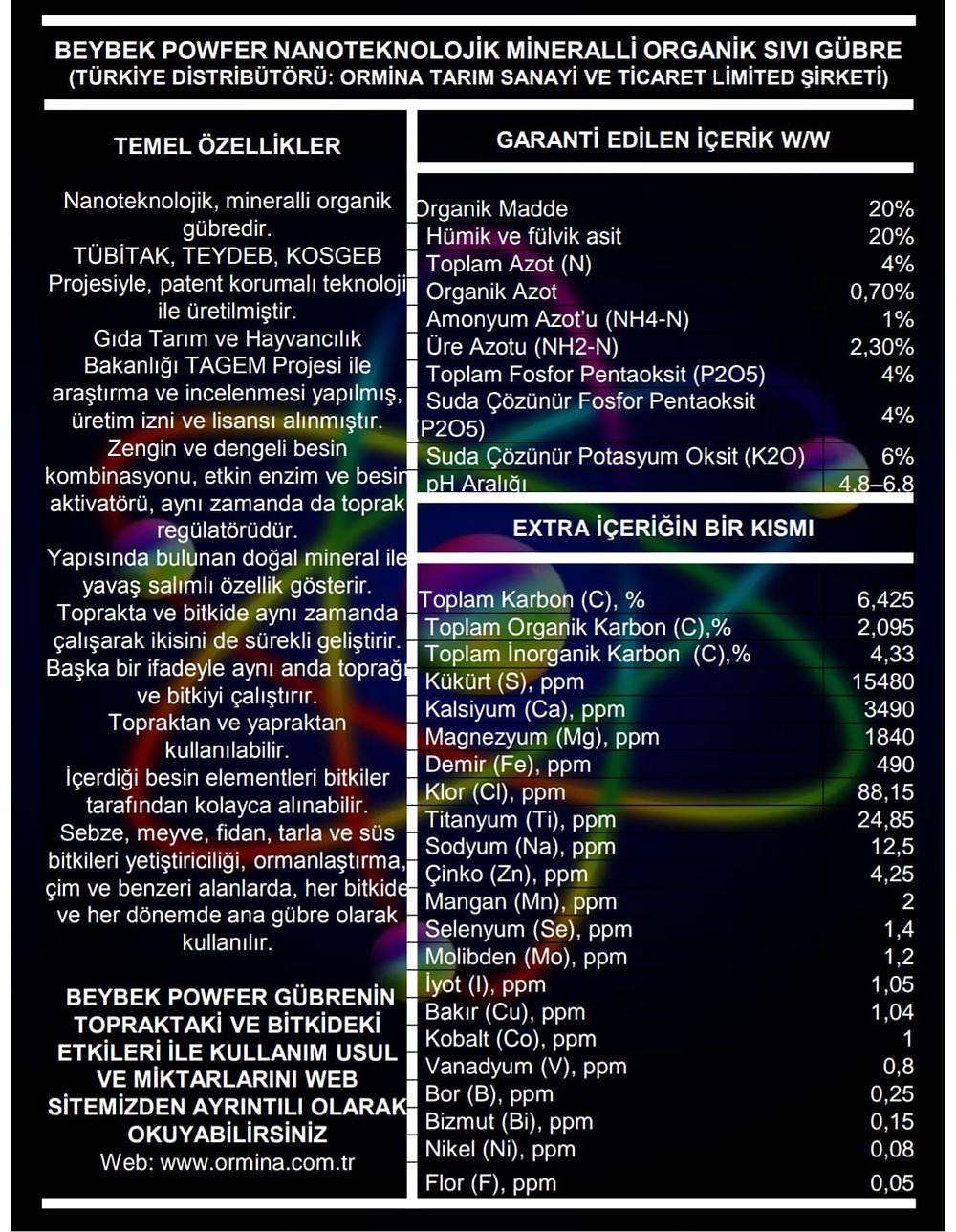 Beybek Powfer Sıvı Gübre İçerik Bilgisi