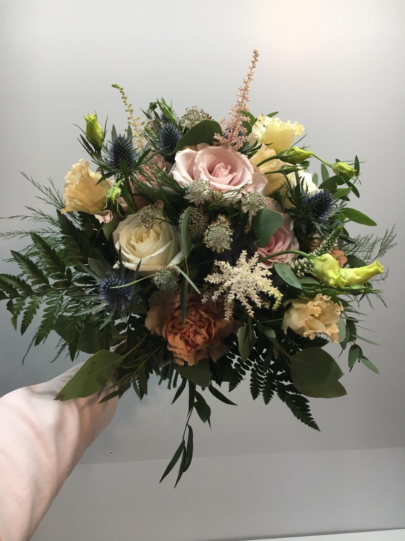 Blush and blue wedding bouquet