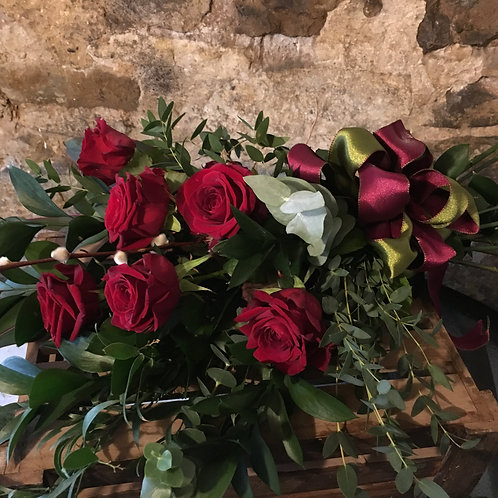 6 Red Rose Spray Hand Tied with luxury ribbon