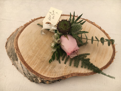 Wedding flowers Pink rose buttonhole