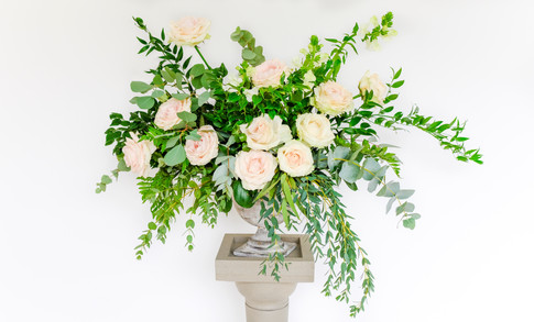 Wedding flowers Blush rose pedestal arrangemet