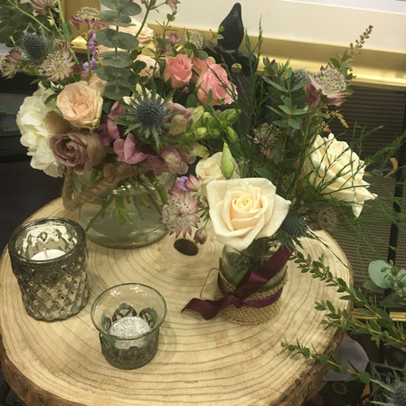 Wedding flowers Rustic table centre