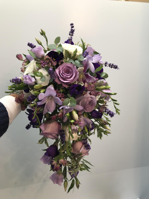 Puple, lilac & mauve wedding bouquet