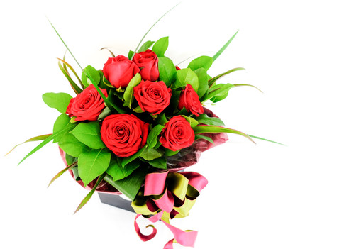 Dozen red rose aqua bouquet