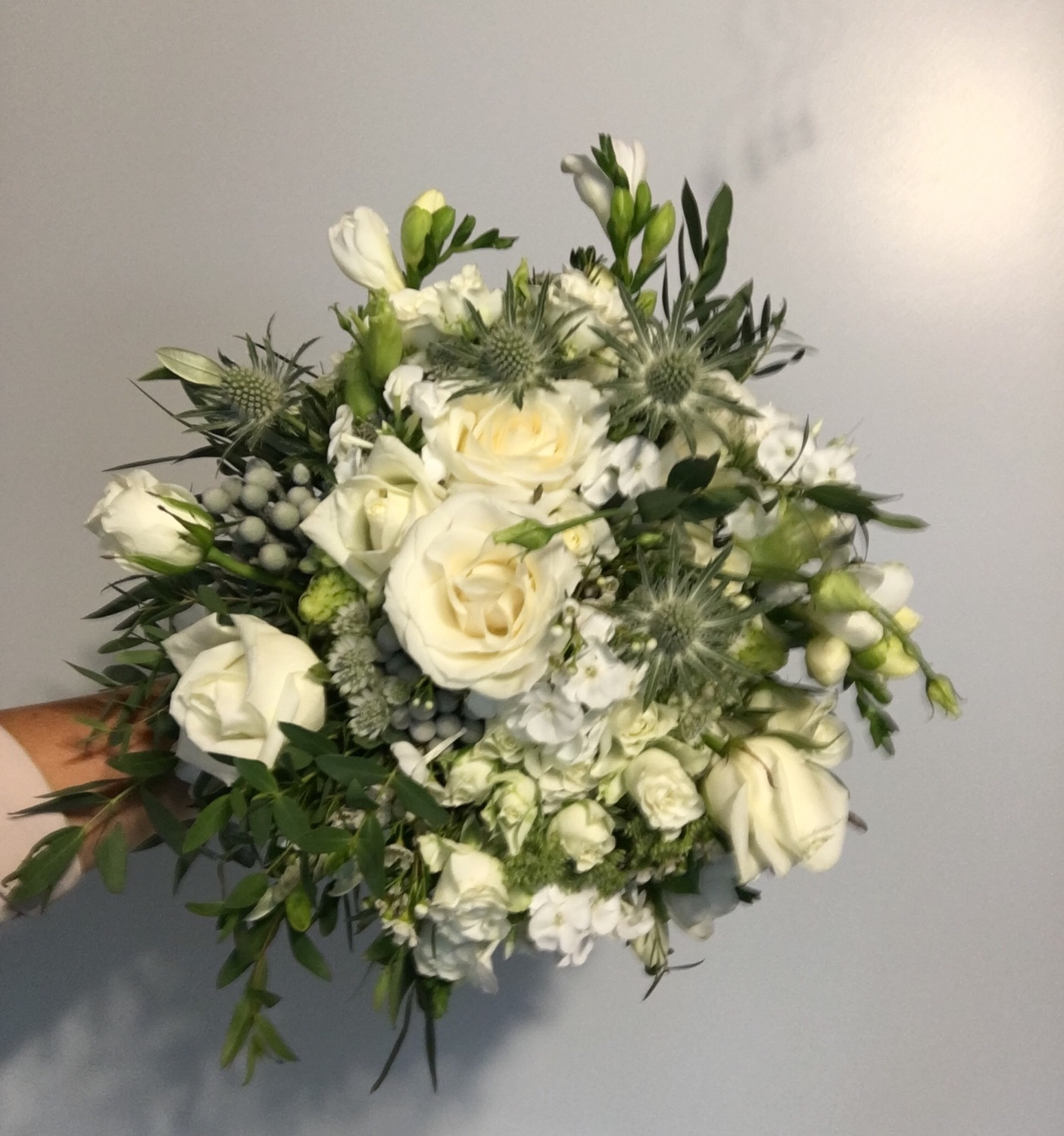 White and Green Hand tied wedding bouque