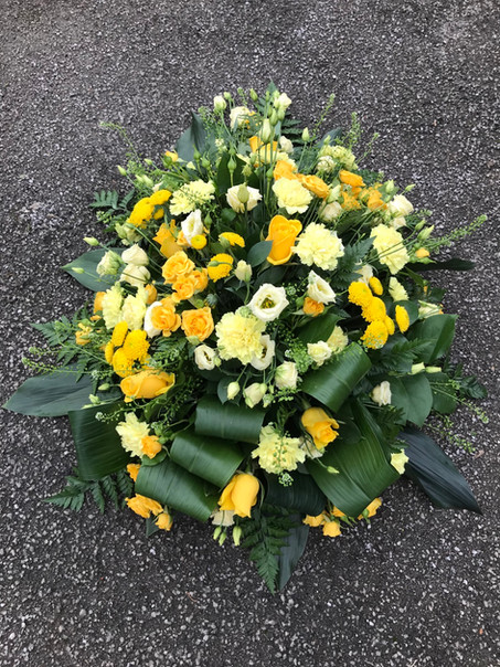 Biodegradeable Yellow funeral coffin spray