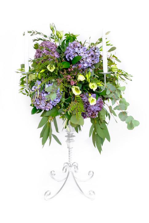 Candelabra flower arrangement