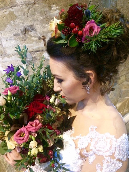 Wedding flowers Hand tied cascade bouquet