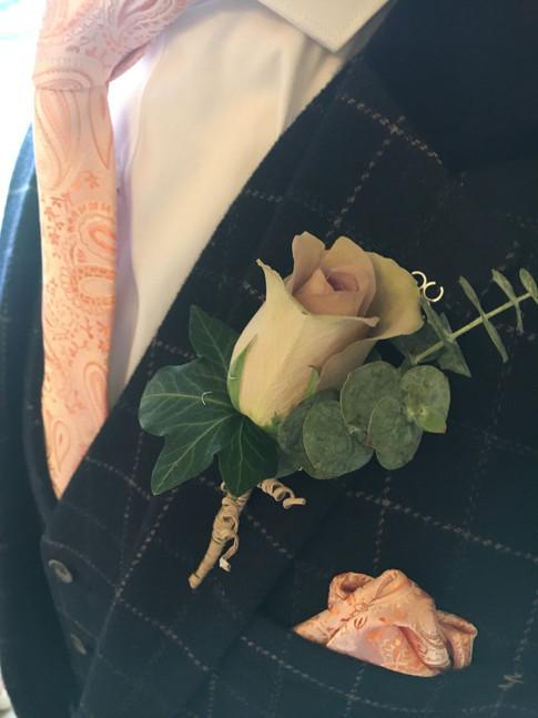 Wedding flowers Blush rose buttonhole