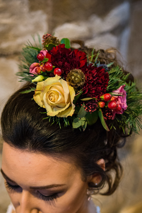 Wedding flowers Floral Hair piece in rich, warm colours
