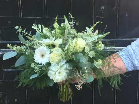 Wedding flowers White and green hand tied bouquet