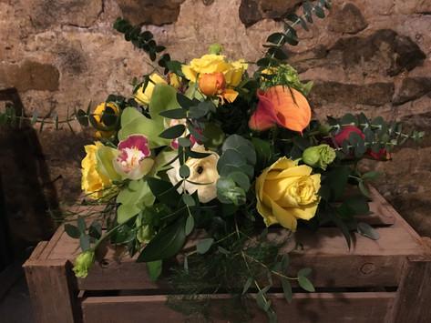 Golden wedding table arrangement