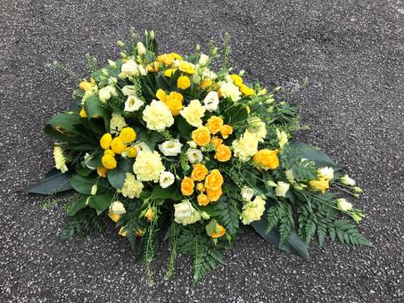 Fully bio-degradeable Yellow and lemon coffin spray
