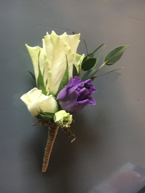 Wedding flowers Purple and white buttonhole