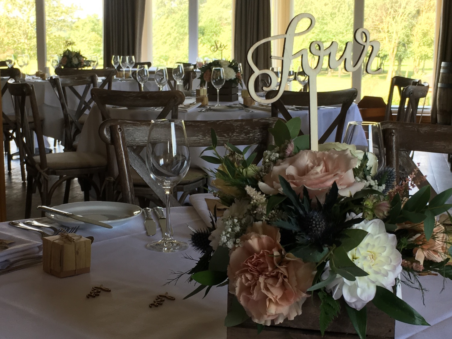 Rustic crate table centre