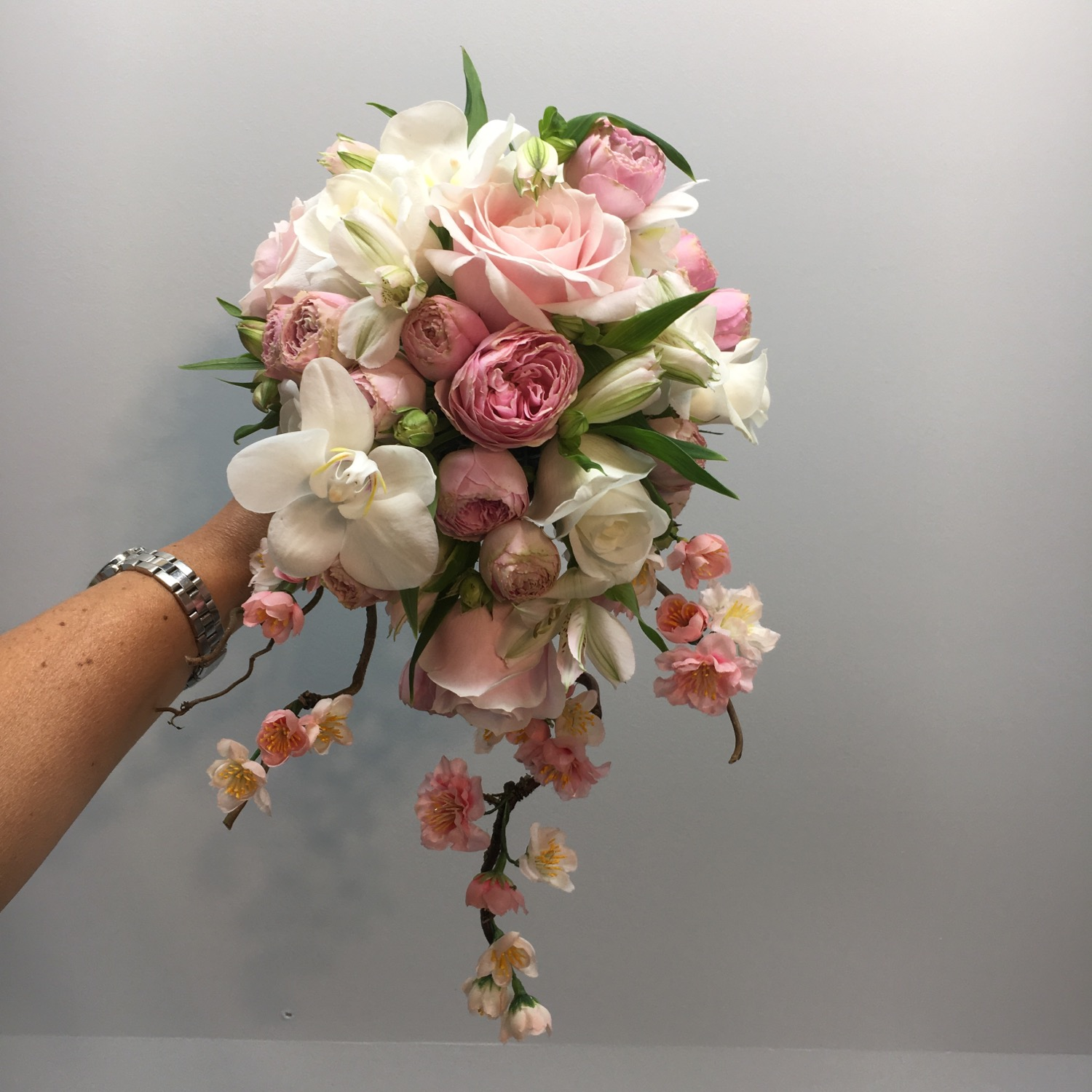 Blush and blossom wedding bouquet