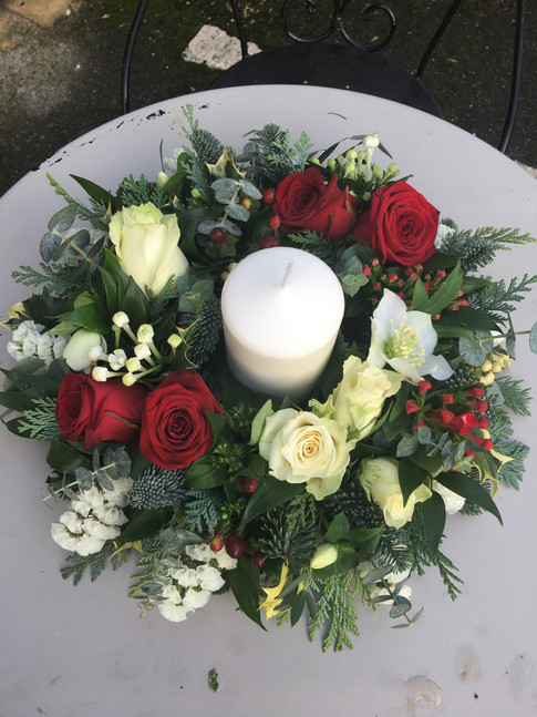 Christmas Table Centre with candle