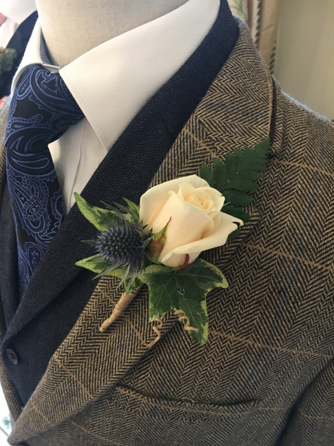 Wedding Flowers White rose and thistle buttonhole