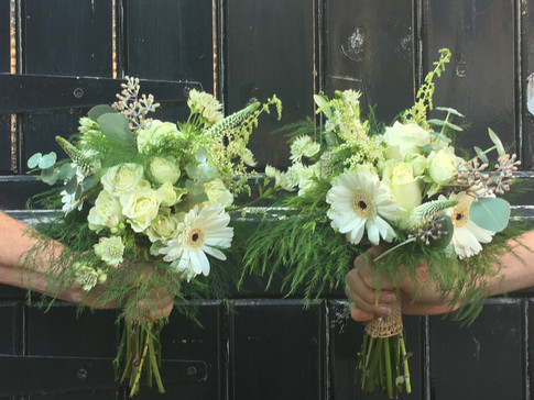 Wedding Flowers White and green bridesmaid bouquet