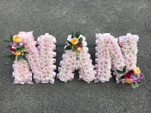 NAN ribbon edged funeral letters