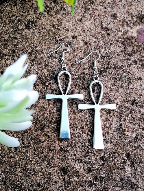 Ankh Antique Silver Earrings Pair Egyptian African Spiritual Symbol Powerful Gift Idea Large Hermetic Kermetic with plants