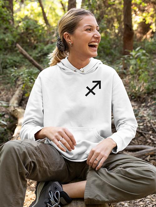 Woman modelling a white Sagittarius Zodiac and spiritual hoodie against a white background