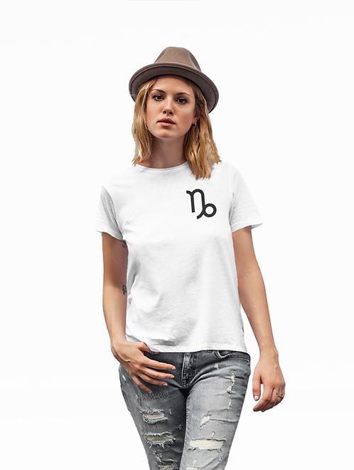 Woman modelling a white Capricorn Zodiac and spiritual T-shirt against a white background