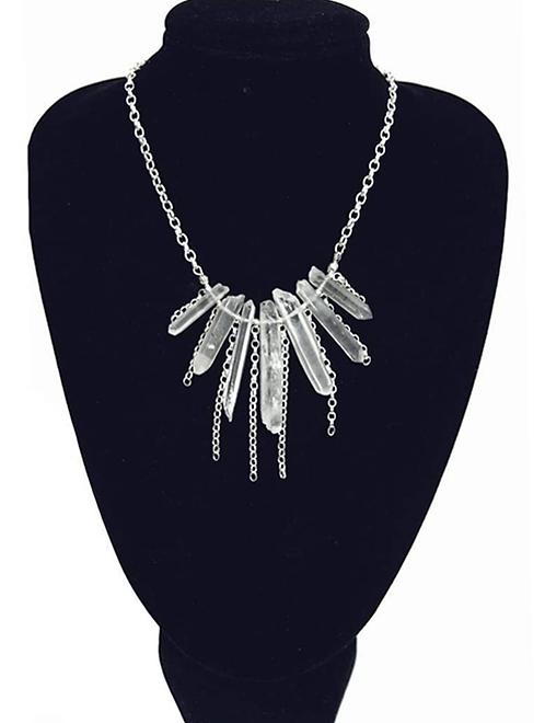 Angel Aura quartz pendant spiritual  necklace hanging from neck mannequin