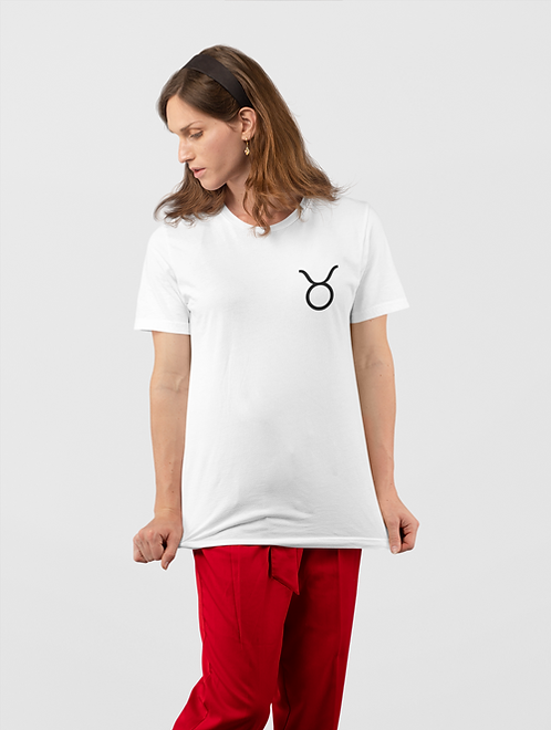 Woman modelling a white Taurus Zodiac and spiritual T-shirt against a white background