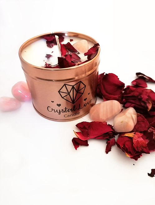 Crystal Infused love candle in a gold tin to create the perfect mood for relaxation and love