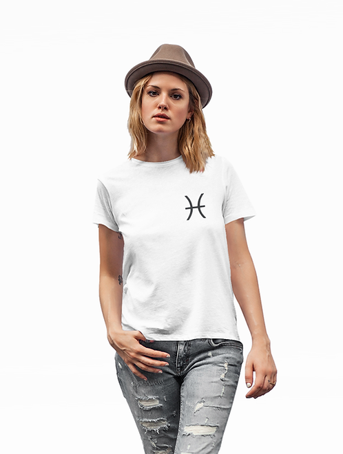 Woman modelling a white Pisces Zodiac and spiritual T-shirt against a white background