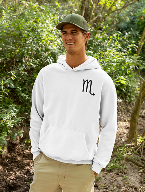 Man modelling a white Scorpio Zodiac and spiritual hoodie against a white background