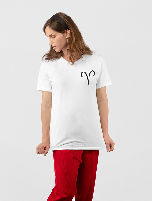Woman modelling a white Aries Zodiac and spiritual T-shirt against a white background
