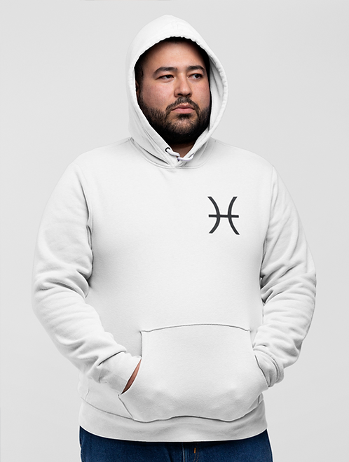 Man modelling a white Pisces Zodiac and spiritual Hoodie against a white background