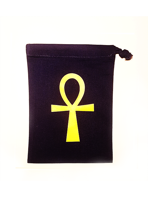 A black Ankh Crystal Divination Bag for storing crystals and other divination tools