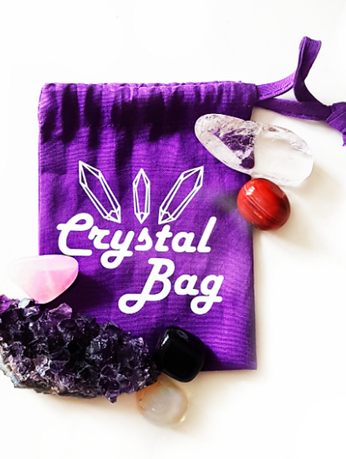 Purple Crystal Bag to store tumble stones and gemstones for spiritual guidance