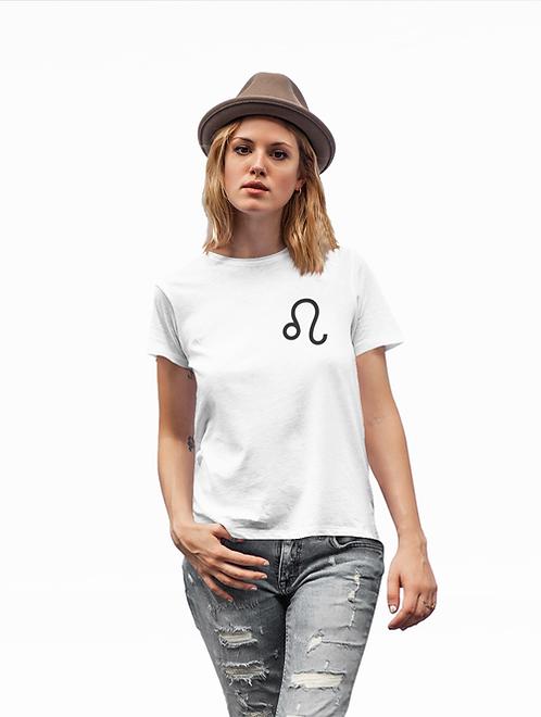 Woman modelling a white Leo Zodiac and spiritual T-shirt against a white background