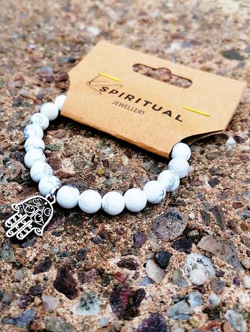 Howlite & Hand of Fatima Talisman Beaded Crystal Gemstone Bracelet Jewellery Spiritual Gift Idea Protection Calming Anxiety c