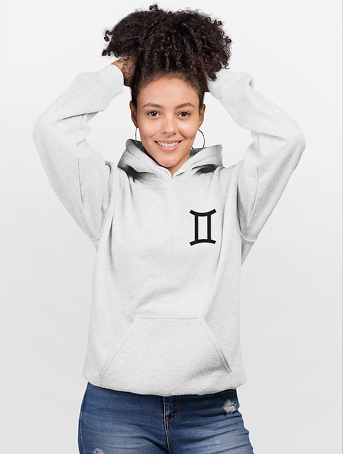 Woman modelling a white Gemini Zodiac and spiritual Hoodie against a white background