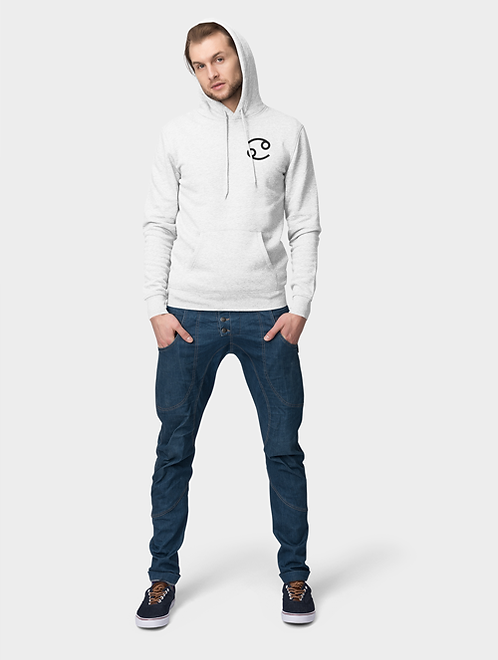 Man modelling a white Cancer Zodiac and spiritual hoodie against a white background
