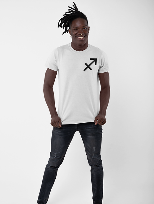 Man modelling a white Sagittarius Zodiac and spiritual T-shirt against a white background