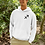 Man modelling a white Sagittarius Zodiac and spiritual hoodie against a white background