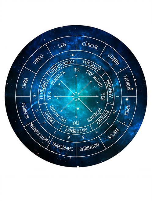 Pendulum Board with Zodiac signs for spiritual guidance and mediation readings with crystal dowsing