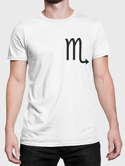 Man modelling a white Scorpio Zodiac and spiritual T-shirt against a white background